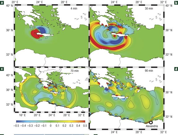 tsunami 365 AD rate of propagation