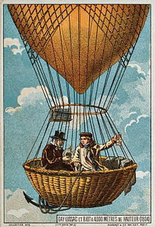 Gay-Lussac and Jean-Baptiste Biot in hydrogen balloon 1804 studying earth magnetic field