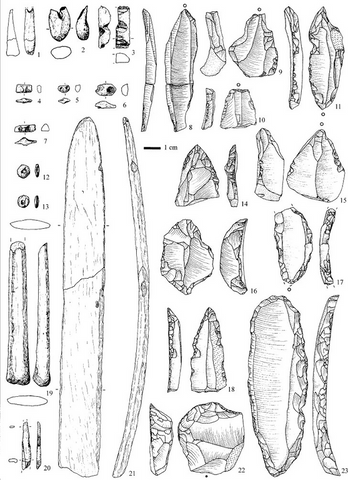 aurignacian tools from hohle fels, germany